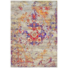 Multi Colored Modern Persian Grunge Rug in Wool and Silk by Gordian