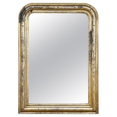 Antique French Distressed Gilt Louis Philippe Mirror with Floral Details