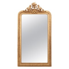 French 19th Century Gold Gilt Mirror with Crest