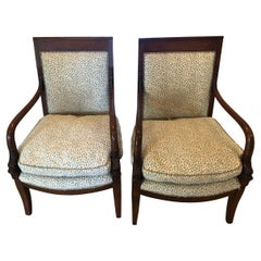 Beautiful Pair of Mahogany and Upholstered Dolphin Motife Armchairs