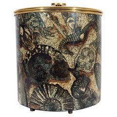 Piero Fornasetti Ice Bucket, Decorated with Sea Shells & Fish, 1960s
