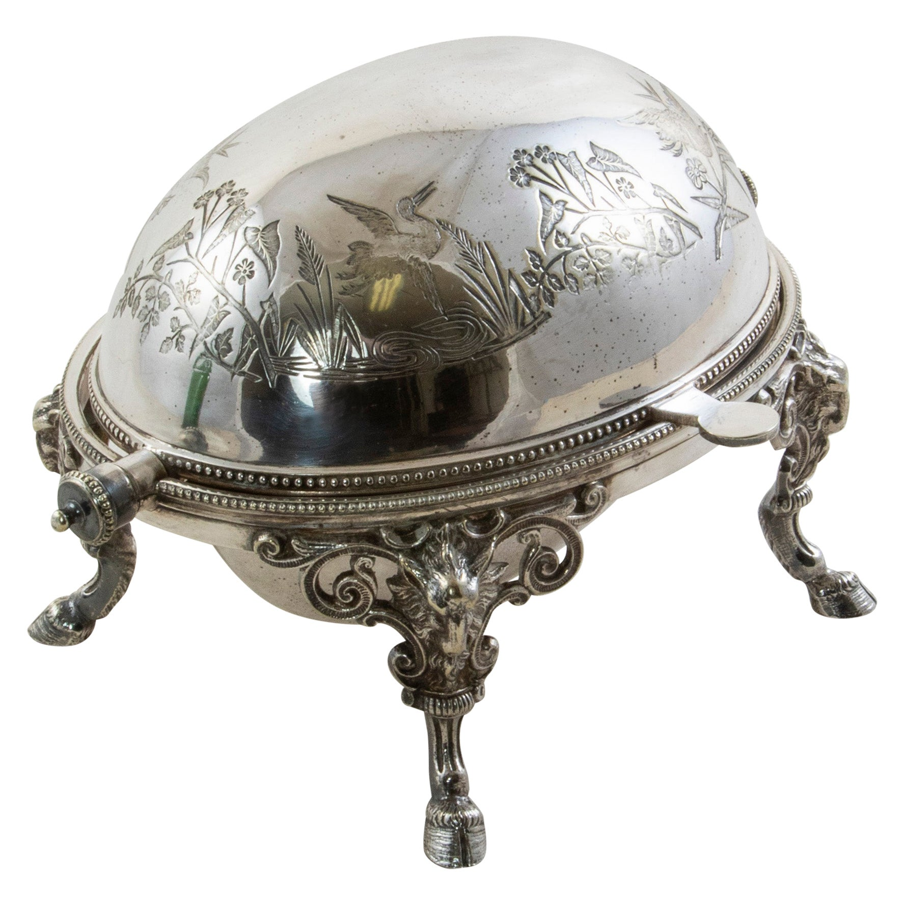 French Silver Plate Domed Serving Piece with Swivel Lid c. 1900