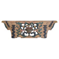 One of a Kind Whimsical Architectural Fragment with Flowers & Bird