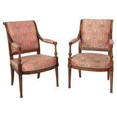 Pair of 18th Century French Directoire Period Walnut Armchairs, Art Deco Fabric