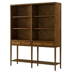Oak Parquetry Open Bookcase