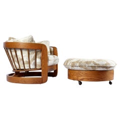 1980s Howard Solid Oak Barrel Shaped Tub Chair and Ottoman