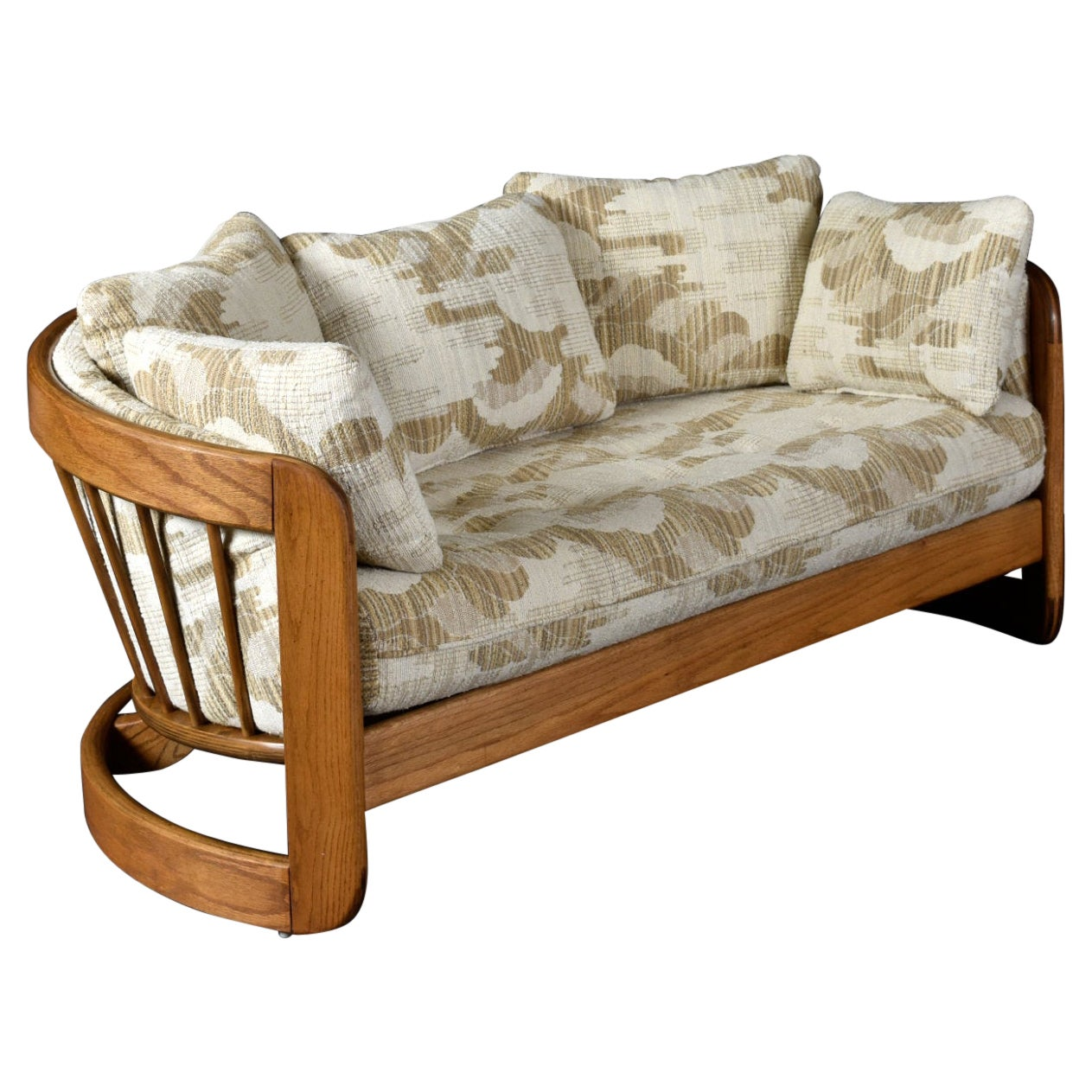 1980s Howard Solid Oak Barrel Shaped Loveseat Sofa