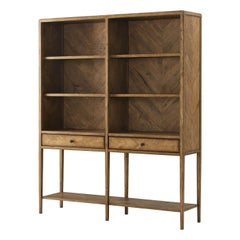 Rustic Parquetry Open Bookcase