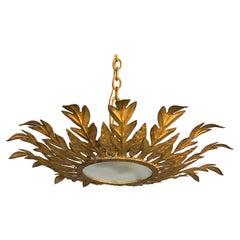 Spanish Gilt Metal Ceiling Fixture with Leaf Design