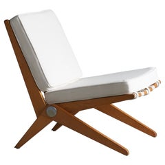 Pierre Jeanneret, Lounge Chair, Wood, Webbing, Fabric, Knoll, America, 1950s