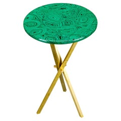 'Malachite' and Brass Side Table by Piero Fornasetti, circa 1970s, Signed