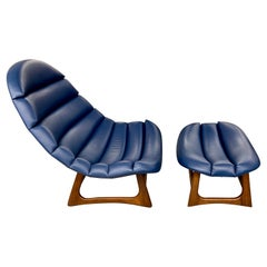 Adrian Pearsall Leather Lounge Chair and Ottoman