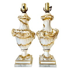 Fine Pair Rococo Style White and Gold Porcelain Table Lamps, 19th Century