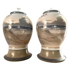 Pair Danish Modern Large Porcelain Table Lamps, Hand Painted Sea Coastal Scenes