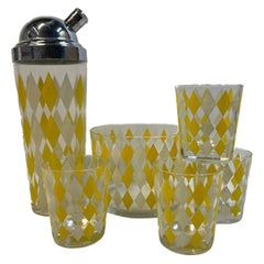 Vintage Yellow and White Diamonds Cocktail Shaker, Ice Bowl and Glasses Set