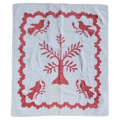 Antique Pictorial 19thc Crib Quilt from New England