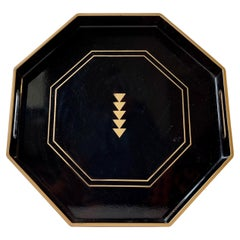 Vintage Octagonal Japanese Black Lacquer Tray