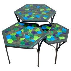 Three Graduating Wrought Iron & Ceramic Mosaic Tables by Jon Matin