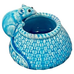 French Aesthetic Turquoise Glazed Figural Mouse Vase