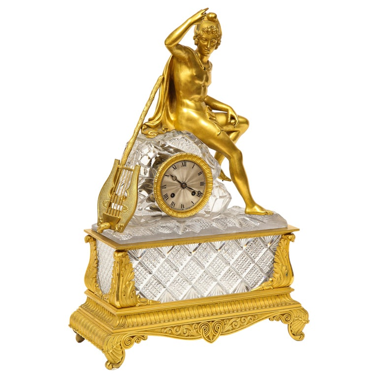 Exquisite French Empire Ormolu and Cut-Crystal Clock, c. 1815 For Sale