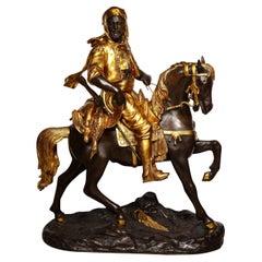 "Monumental Orientalist Bronze Sculpture ""Cavalier Arabe"" After Emile Guillemin"