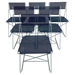 Niels Jorgen Haugesen Chairs with Perforated Metal Seats for Magis, Three Pairs