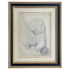 Old Master Drawing of a Seated Male Nude Antique Statue Torso