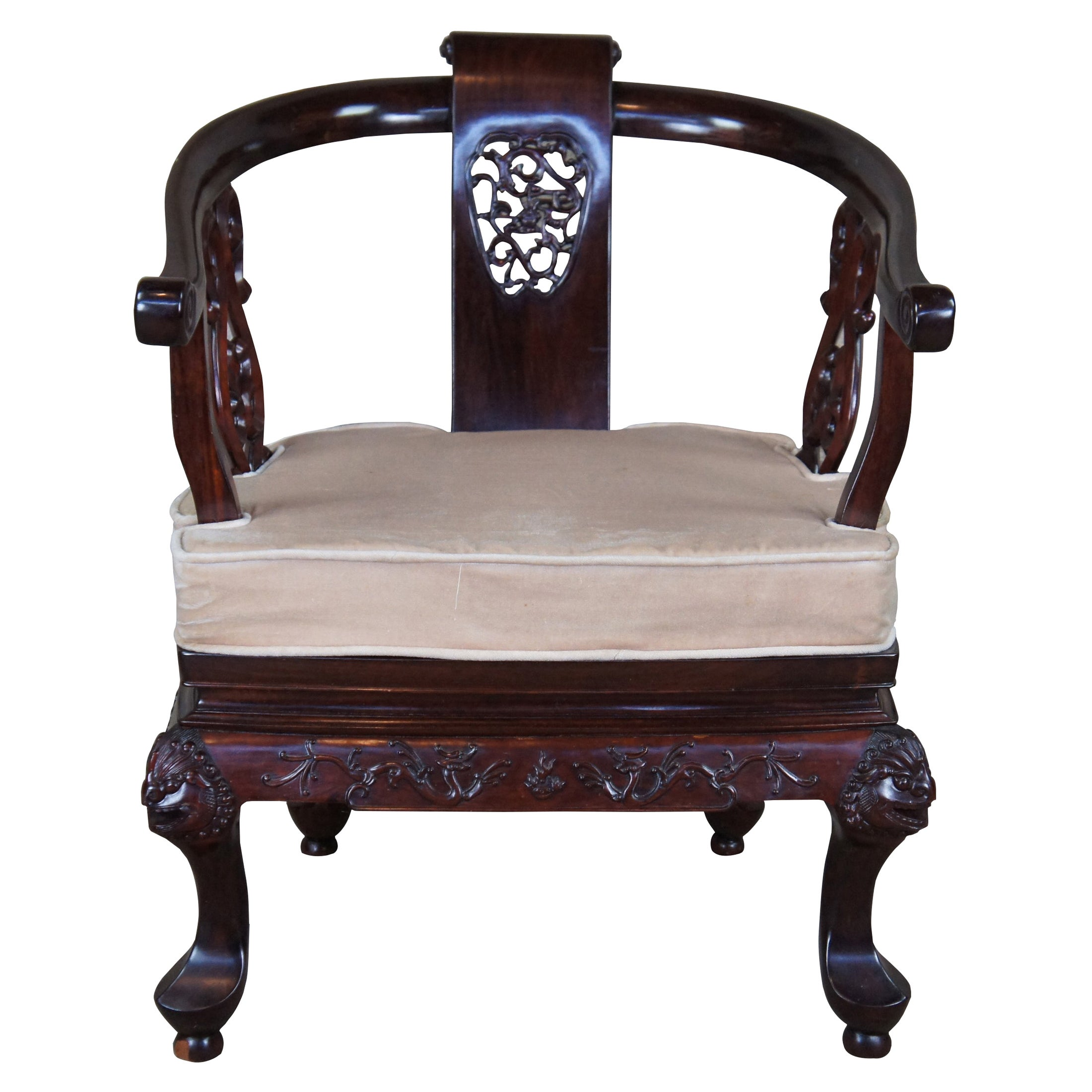Vintage Chinese Rosewood Ornate Figural Horseshoe Yoke Arm Accent Club Chair