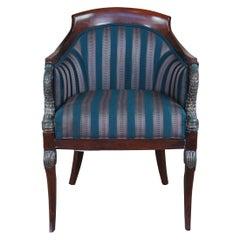 Pulaski French Empire Regency Figural Carved Dolphin Barrel Back Club Chair Seat