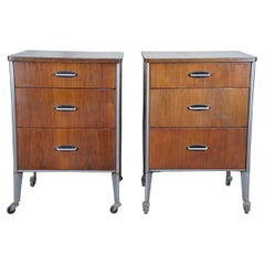 Mid-Century Modern Raymond Loewy Hill Rom Industrial Medical Cabinet Tables MCM