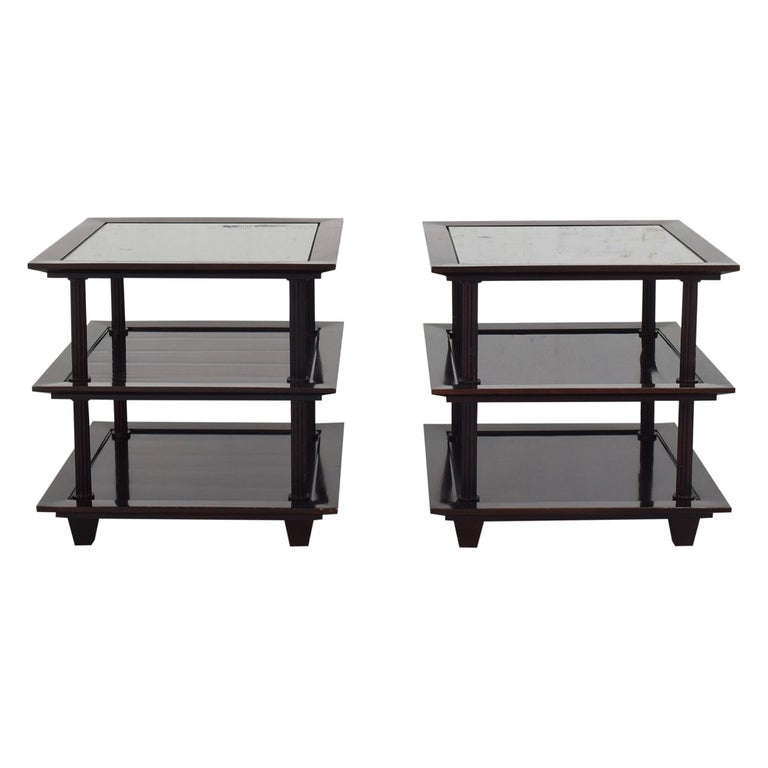 Barbara Berry for Baker Furniture Company, Three-Tiered Mahogany Side End Tables For Sale