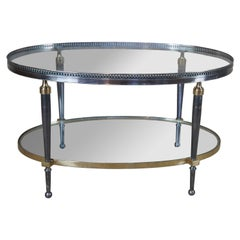 Trouvailles Hollywood Regency Silver & Brass Oval Glass Top Coffee Table