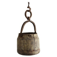 Japanese Old Iron Well Bucket and Chain / Hanging Cage / 19-20th Century