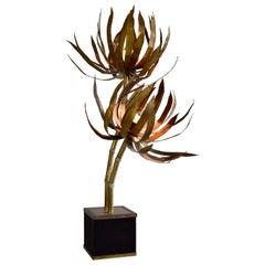 Brass Hollywood Regency Palm Tree Maison Jansen Floor Lamp