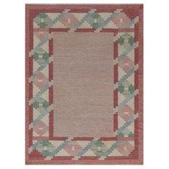 Vintage Swedish Beige, Green, Pink Flat Weave Rug