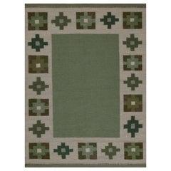 Vintage Swedish Beige, Green Flat Weave Wool Rug