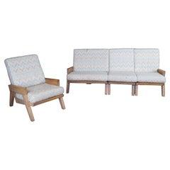 Vintage 4 Pc August Brandt Ranch Oak Rustic Sectional Sofa & Lounge Arm Chair