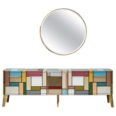 Important Sideboard in Mirror by Studio Glustin