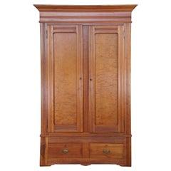 Antique Eastlake Victorian Walnut Knockdown Clothing Armoire Linen Press Cabinet