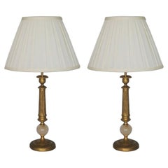 Pair of French Empire Style Bronze Column Candelabra Electrified Table Lamps