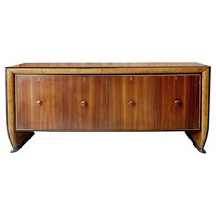 Long Mid-Century Modern Wooden Sideboard by Osvaldo Borsani, Italy, 1950s
