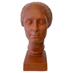 Original Plaster Bust of a Woman with Short Hair by Claudius Linossier, 1927