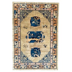 Pretty Vintage Chinese Art Deco Design Peking Rug