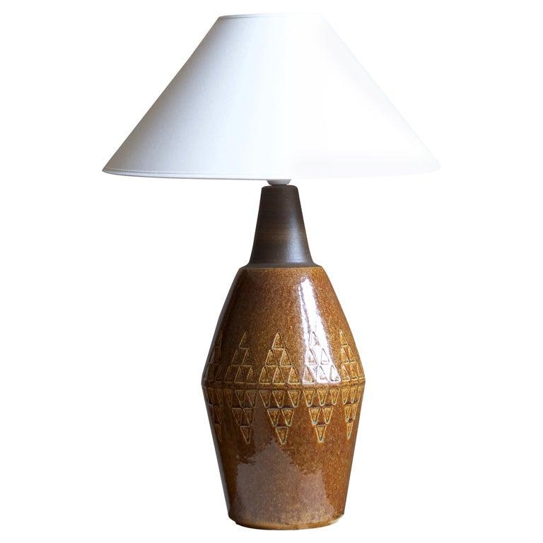 Søholm Stentøj, Large Table Lamp, Glazed Stoneware, Bornholm, Denmark, 1960s For Sale