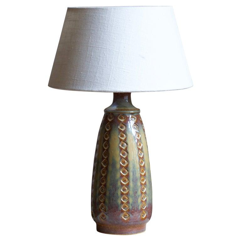 Søholm Stentøj, Table Lamp, Glazed Stoneware, Bornholm, Denmark, 1960s For Sale