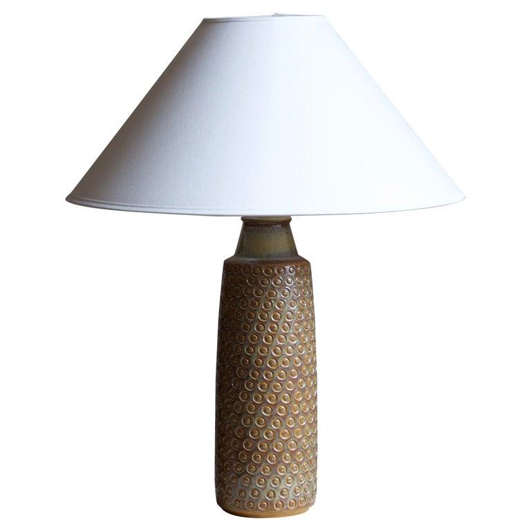 Søholm Stentøj, Table Lamp, Glazed incised Stoneware, Bornholm, Denmark, 1960s For Sale