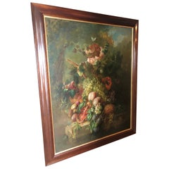 Romantic Large Fruit and Flowers Still Life Painting