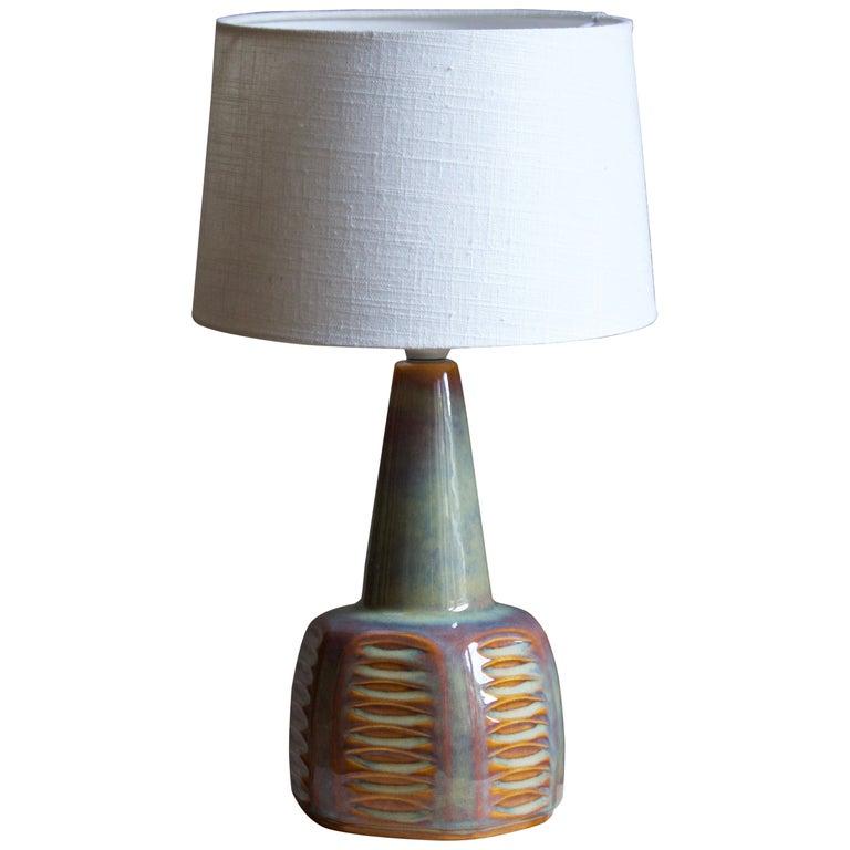 Einar Johansen, Table Lamp, Glazed Incised Stoneware, Søholm, Denmark, 1960s For Sale