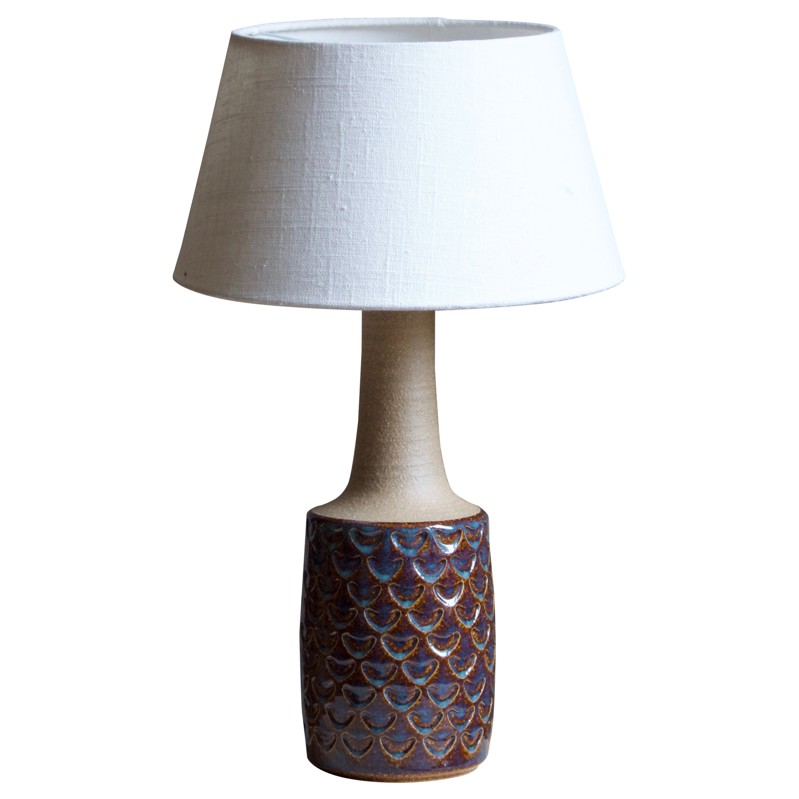 Søholm Stentøj, Table Lamp, Glazed Incised Stoneware, Bornholm, Denmark, 1960s