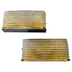 Two 1970s Mid-Century Modern Italian Brass and Glass Rectangular Wall Sconces